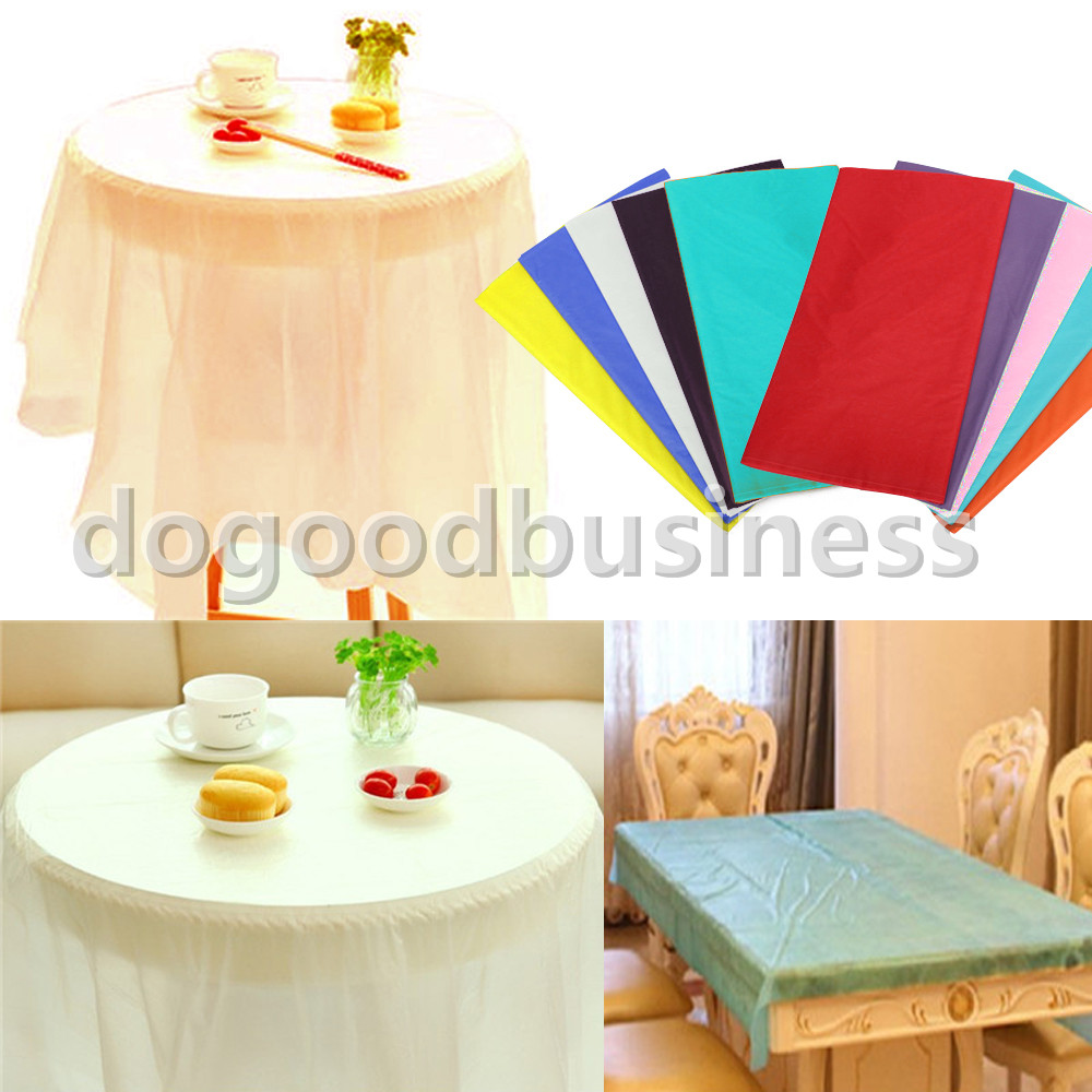 10Pcs / Pack Waterproof Rectangle 137cm x 274cm Table Cover Tablecloth Plastic Tablecover For Wedding Patry Event Decorations(China (Mainland))