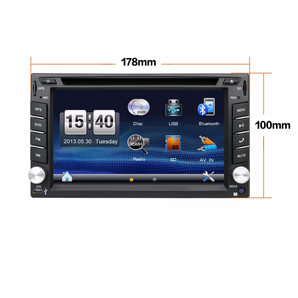 "Universal 2 Din 6.2"" In Dash Car DVD Player GPS/ Radio/FM/USB/SD/Bluetooth/ HD digital touch screen full popular function free(China (Mainland))"