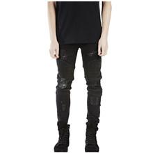 represent clothing designer pants slp blue/black destroyed mens slim denim straight biker skinny jeans men ripped jeans 28-38(China (Mainland))