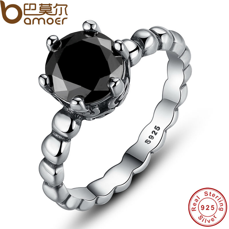 BAMOER Genuine 100% 925 Sterling Silver Ring with Black Cubic Zirconia For Women Wedding Jewelry PA7109(China (Mainland))