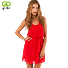 Buy GOPLUS 2017 Summer Style Chiffon Party Dress Women Casual V neck Beach Dress Sleeveless Red Black Sweet Mini Dresses Plus Size for $7.28 in AliExpress store