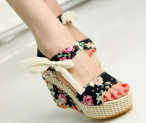 New Fashion Hot sale Summer wedges sandals female shoes women platform shoes lace belt bow Flip Flops open toe high-heeled shoes(China (Mainland))