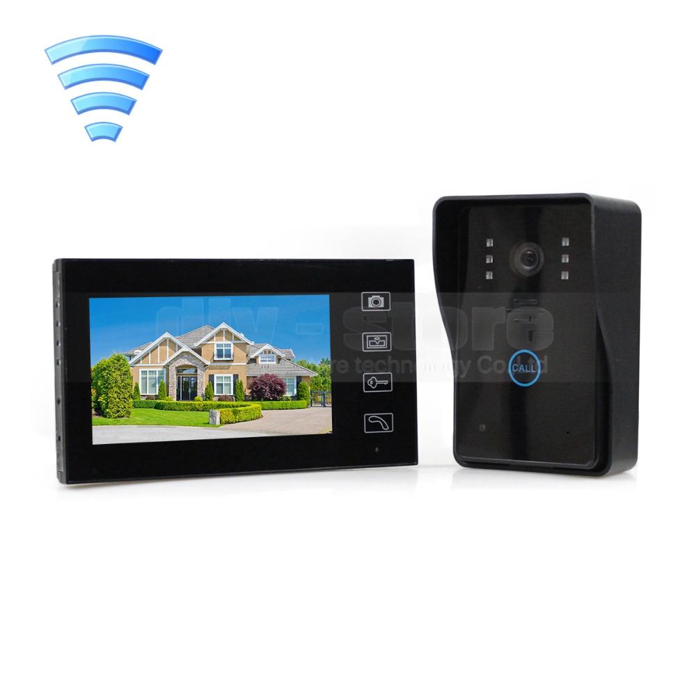 Wireless 7 inch LCD Video Door Phone Doorbell Intercom Doorbell Home Security IR Camera Monitor Free Shipping(China (Mainland))