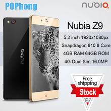 ZTE Nubia Z9 64GB Fingerprint 4GB RAM 5.2 inch Qualcomm Snapdragon 810 Octa Core LTE 16MP Cell Phone Android 5.0