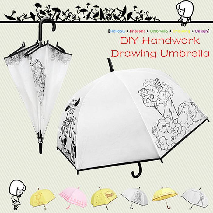 2015 New 1PCS Funny DIY Long Handle Umbrella Kids Gift Manual Graffiti Painting 7 Colors Semi-automatic Umbrellas+Painting tools(China (Mainland))