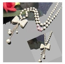 Korean jewelry Hot Selling Bow Imitation Pearl Necklace Pendant long Design Necklace Woman Jewelry Accessories Free Shipping