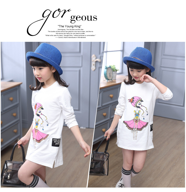New Girls Natural Spring Child Long Sleeve Blouse Children Printing Clothing Kids Clothing Korean T-shirt White Grey