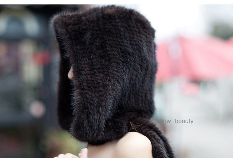2017 Real knitted genuine mink fur hat with scarves winter muffle hoody stoles handmade natural fur for lady wrap free shipping