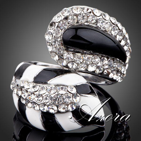 AZORA The Fox's Tail Platinum Plated Transparent Stellux Austrian Crystal Ring TR0075(China (Mainland))