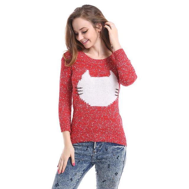 Опрятный кошка пуловеры 2015 осень зима дамы о-образным вырезом свободного покроя ...