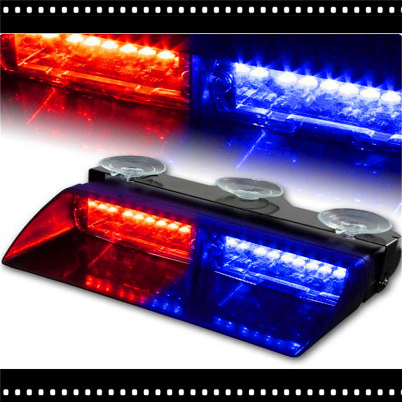 1X Red&Blue 16 Led Strobe Light Car Truck Van Side Police Firemen Emergency Ambulance Dash Beacon Flashing Auto Warning Lamp(China (Mainland))