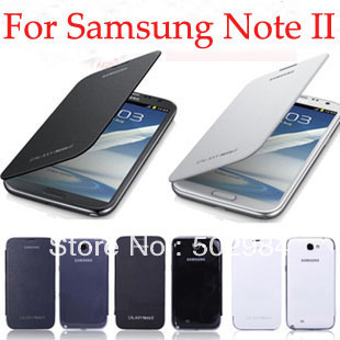 for Samsung Galaxy Note 2 N7100 Battery Case + Flip PU Leather cases Note2 batteries housing retail package free shipping 12pcs