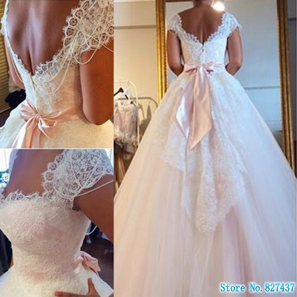 Wedding Dresses Real : Romantic wedding dress real photo a line lace capped sleeve sweep
