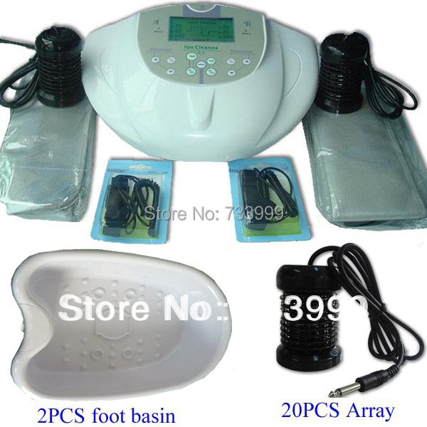 Dual Foot Detox Spa Bath Machine+2pcs foot basin+20pcs array,a ionic cleanser with two far infrared heating belt Free shipping(China (Mainland))