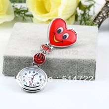 1pcs Heart Shape Cute Smile Face Nurse Quartz Fobwatch Clip-on Fob Pocket Watch Pin Brooch new arrival(China (Mainland))