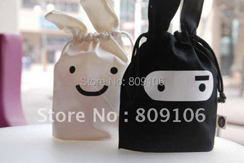 Wholesale ,Free shipping,   30pcs/lot ,Ninja rabbit travel pouch, black and white,Storage bags,cartoon bags,Pouch