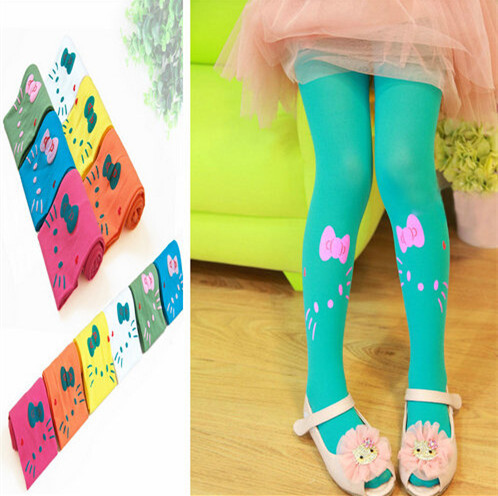 Wholesale 12 Pairs Candy Colors Velvet Hello Kitty Tights for girls Cute Girls Pantyhose Spring Summer Stocking Kids Tights(China (Mainland))