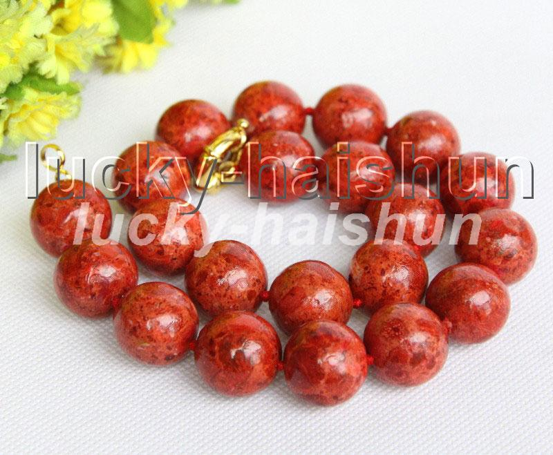 """AAA 8"""" 19mm natural round red sponge coral bracelet j11303(China (Mainland))"""