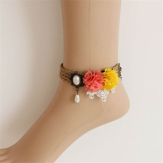 10pcs/lot 2014 Bohemia Sandy Flower Foot Bracelet Jewelry Women Trendy Ankle Hemp Rope Chains Accessories Anklet(China (Mainland))