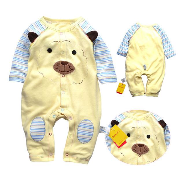 2015 новый длинный рукав комбинезон, Высокое качество комбинезон новорожденный одежду для 3 - 12 м bebe, 100% хлопок детская одежда