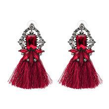 2018 offre spéciale 9 couleurs longues gland boucles d'oreilles pour les femmes cristal boucles d'oreilles pour mariage mode déclaration bijoux en gros 30(China)