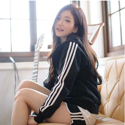 2015 New Free Shipping Swearshirt Sports tracksuit Sport Suit For Women Casual Black Red Gym running thin material(China (Mainland))