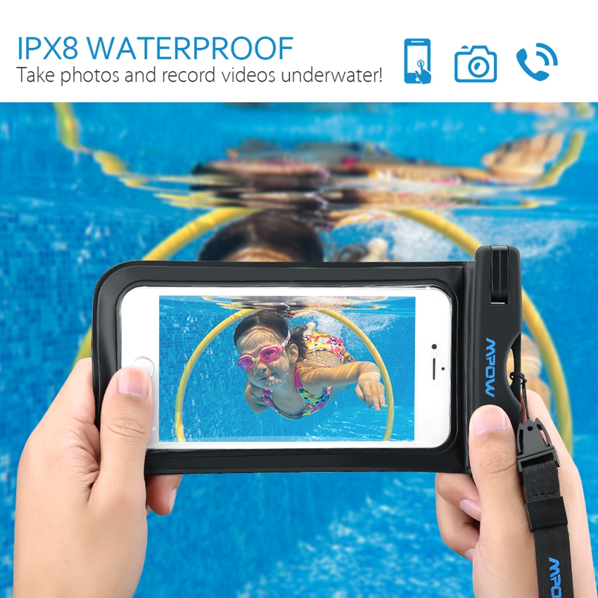 Mpow Underwater Dry Bag Waterproof Phone Case with Touch Transparent WindowsWatertight Sealed System for iPhone 6s Plus Samsung(China (Mainland))