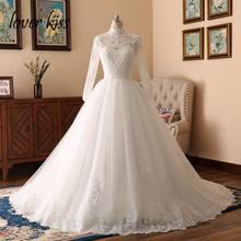 נשיקת מאהב 2020 אלגנטי גבוהה צוואר ארוך שרוול תחרה מוסלמי חתונת שמלת עבור הכלה האסלאמית שמלות Bridals חתונת Vestido דה noiva(China)