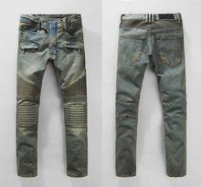 New BP Mens Fashion Runway Biker Slim Stratch Washed Denim Jeans Knee Pleated Men High Fashion  Moto Punk Jeans Size 28-38 #937(China (Mainland))