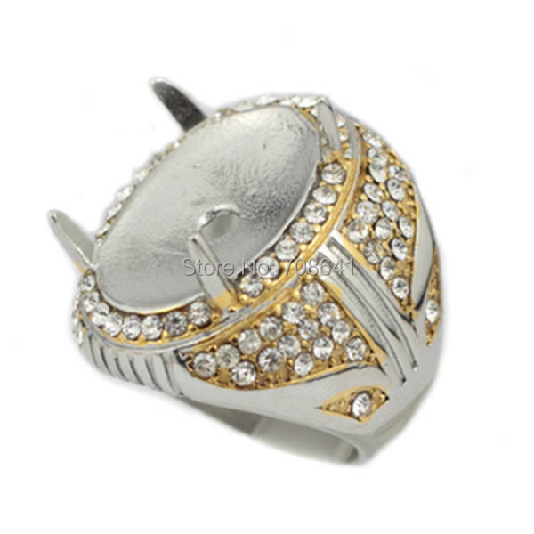 2015 New Gold Plated Blank 4 Teeth Prong Pins Bezel Zircon CZ Indonesia Without Stone Men's Rings Settings Findings Wholesale(China (Mainland))