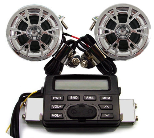 New Arrial Sound Audio Radio System Handlebar FM MP3 iPod Stereo 2Speakers For Motors Motorcycle Broadcasting System Kit(China (Mainland))
