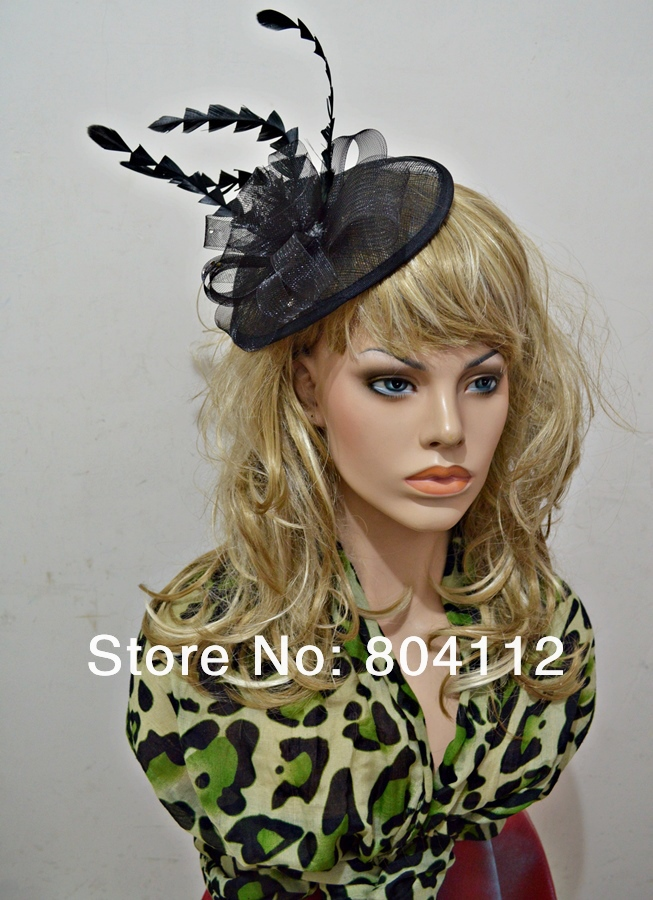 Womens Feather Sinamay Hat Fascinator Flower Hairclips(China (Mainland))