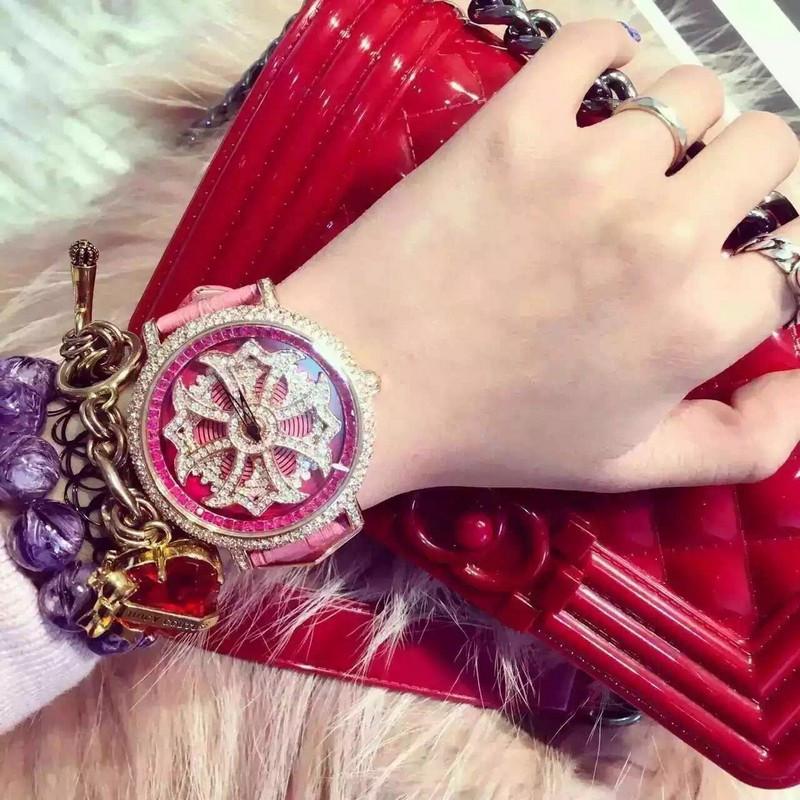 Shining Rotation Women Real Leather Watches Lady Dress Watch Big Diamond Stone Wristwatch Lady Genuine Leather Watch relojes