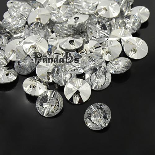 10-33mm Acrylic Transparent Rhinestone Buttons, 1-Hole, Faceted & Silver Plated Rivoli Back, Flat Round, Clear(China (Mainland))