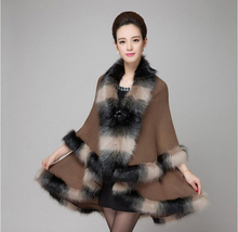 Fashion Novelty Assorted Color Fox Fur Coat Shawl Cloak Women Wool Cashmere Long Double Overcoat Cape Poncho Winter New(China (Mainland))