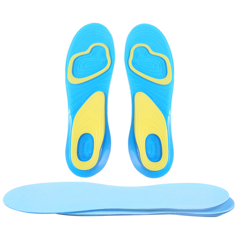 Silicone Insoles Elastic Damping Cushion Insole Sport Health Men's Lady Pain Relief Military Soft Insole Foot Pad 2016(China (Mainland))
