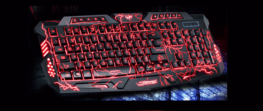 3 color backlight m200 mechanical pro gaming keyboard el. Black Bedroom Furniture Sets. Home Design Ideas