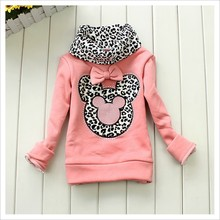 Retail! Kids Sweater,New Winter Fashion Leopard Turtleneck Pullover Girl Minnie Thick Bottoming Shirt Baby Kids Autumn Sweater(China (Mainland))