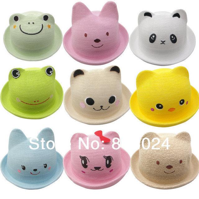 1 шт. милый маленький медведь панда животных мальчики кепки головные уборы для лета 10 цветов дети аксессуары бесплатная доставка