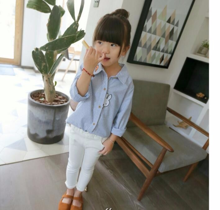 2016 Spring Girls Blouse Kids Baby Girl Clothes Cotton Tops Lace School White Blouses For Girls long Shirts Children Clothing
