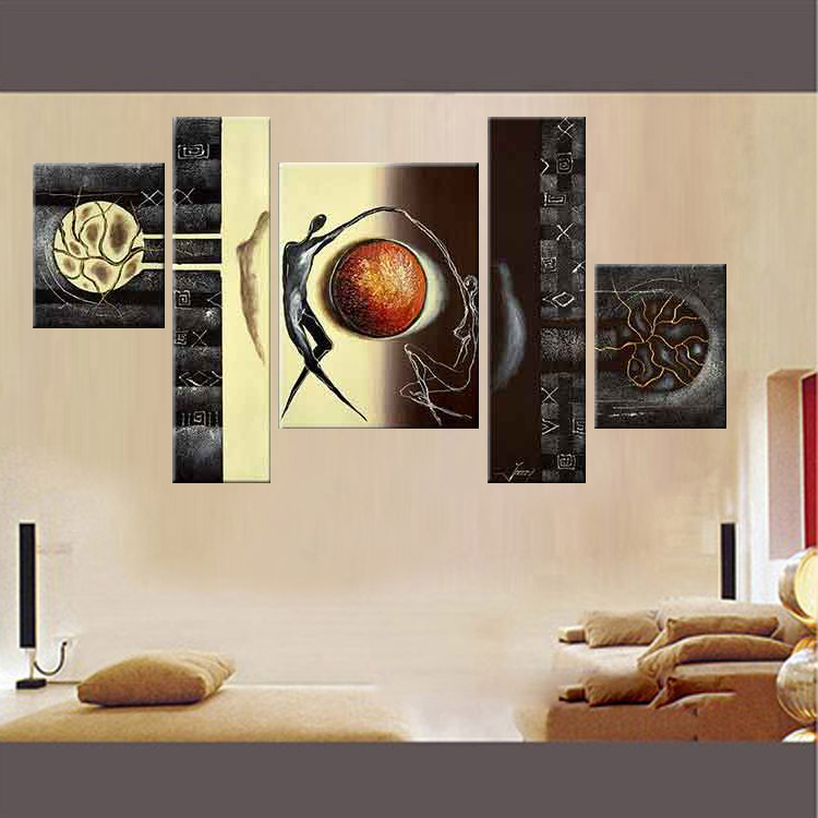 Living Room Contemporary 5 Panels Huge pt251 B2-SNALL Abstract Sexy Character Oil(China (Mainland))