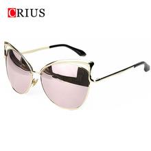 Cat eyes women's sunglasses for women women's sun glasses metal brand designer Vintage retro oculos de sol feminino 2016 new(China (Mainland))