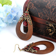 Vintage Handmade Oval Wooden Earrings with Bronze Flowers and Waterdrop Bead | Boho Ethnic Jewelry for Female Flamenco Dancer(China (Mainland))