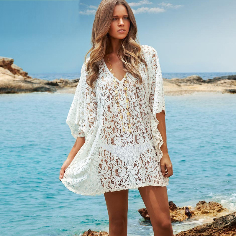 Womens beach cover up dresses white hollow out knitted for Beach shirt cover up