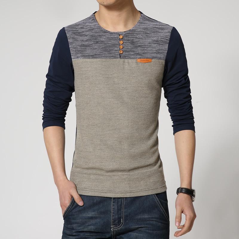 New casual men s clothing long sleeved T shirt Men Slim stitching funny tshirt big yards