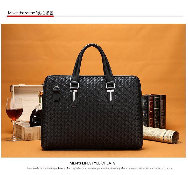 Men Business Synthetic Leather Weaving Briefcase Male Travel Messenger Shoulder Portfolio Laptop Bags Causal Lawer Handbag Bolsa (11)