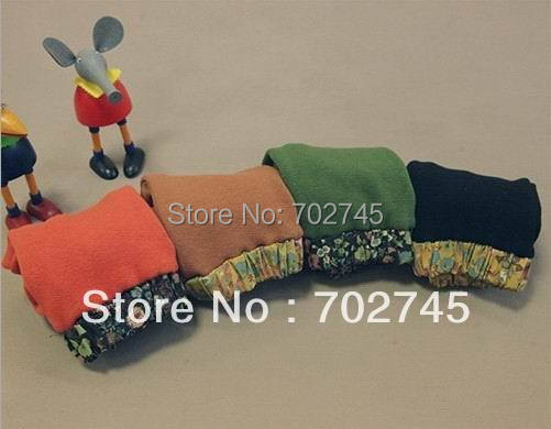 Pink Ideal 33929 Girl Legging Children Clothes Print Flower Thicken Fleece Green Black Orange Coffee