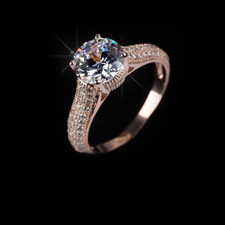 Italina Red Apple 18K Rose Gold Plated Crystal Ring With Austrian Crystal Stellux RA11535Rose