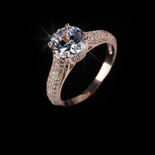 Italina Red Apple 18K Rose Gold Plated Crystal Ring  With Austrian Crystal Stellux  #RA11535Rose
