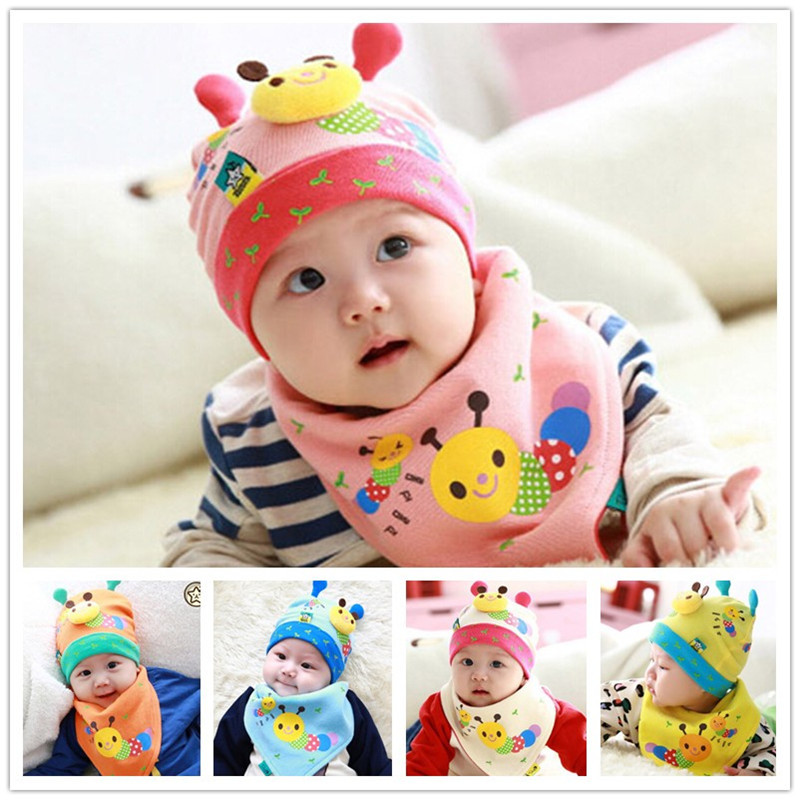 Caterpillar modeling baby hats caps newborn baby crochet cap cotton baby beanies hats triangle towels 2pcs/set baby clothes(China (Mainland))